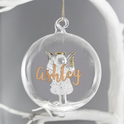 Gold Glitter Name Only Angel Glass Bauble